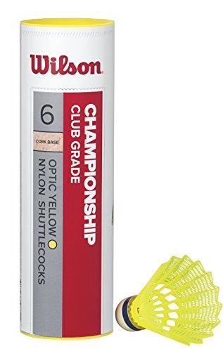 Wilson Badminton-Ball, Championship Shuttlecocks, 6-er Dose, 78 Grains, Gelb, Kunststoff/Naturkork, WRT6044YE78