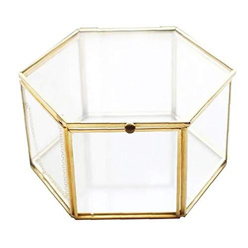LjzlSxMF Glasschmuck Box Speicher löschen Box Hexagon Jewelry Box Geometric Jewellery Box für Ring-Ohrring-Lagerung