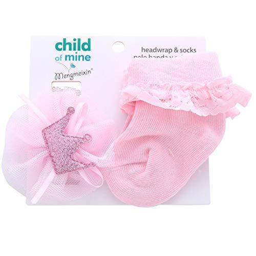 S-TROUBLE 2 uds / 1 Juego de Diademas de Flores para niñas, Diadema elástica para el Cabello para niños, Accesorios para el Cabello para niños con Conjunto de Calcetines de algodón