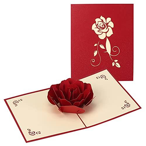 Muttertagsgeschenk 3D Pop Up Karte,Geburtstagskarten für Frauen,Grußkarte für Mama Pop-Up Karte Blumen Hochzeitskarte 3D Rote Rosen Klappkarte Muttertagsgeschenke Ideen