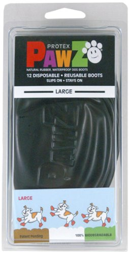 Pawz 3-Inch to 4-Inch Water-Proof Dog Boots, Large, Black