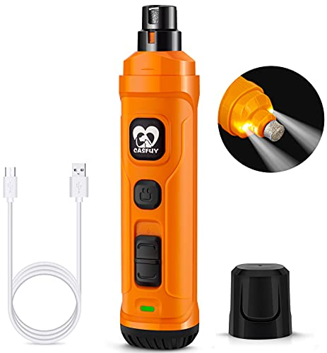 Casfuy Dog Nail Grinder with 2 LED Light - New Version 2-Speed Powerful Electric Pet Nail Trimmer Professional Quiet Painless Paws Grooming & Smoothing for Small Medium Large Dogs and Cats (Orange)