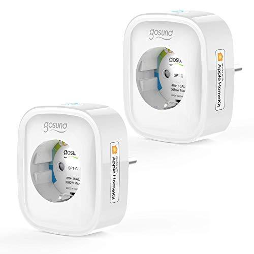 Gosund Smart Steckdose mit Apple HomeKit 16A, Homekit Steckdosen Es kann über iOS 13 oder höher Fernsteuren werden, Die Sprachsteuerung kann über Siri erfolgen, 2 Packs (Arbeiten Sie nur mit ios)