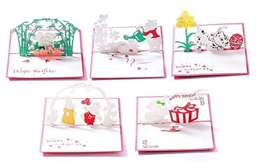 3D Birthday Pop-Up Cards- Cat, Dog, Bear, Rabbit. Cute for Girls & Boys (5 Pack Animals- Assorted)