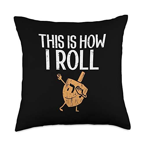 BoredKoalas Hanukkah Pillows Jew Chanukah Gifts This Is How I Roll Dabbing Dreidel Hannukah Chanukah Gift Throw Pillow, 18x18, Multicolor