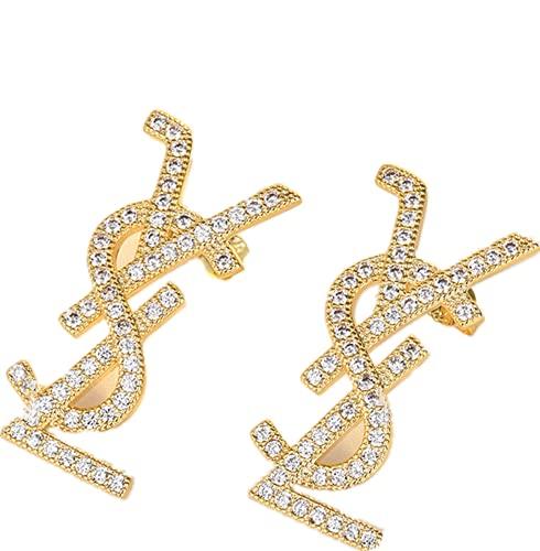 Pendientes de plata del alfabeto S925 Pendientes hechos a mano Zircon temperamento nicho diseño femenino pendientes, 2.8x1.5cm, Plata,
