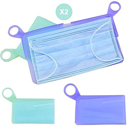 Funda de almacenamiento para máscara, caja de protección contra la contaminación para el transporte de máscaras, impermeable y esterilizable (lote de 2)