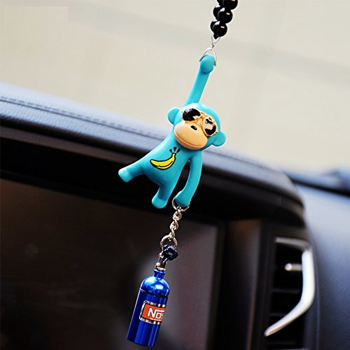 YGMONER Wearing Sunglasses Monkey Car Charm Interior Rear View Mirror Hanging (Blue& nitrogen Bottle)