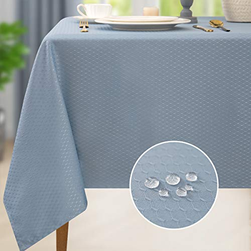 Lotmat Diamond Pattern Table Cloth Rectangular Waterproof Tablecloth Contemporary Style Washable Oblong Table Cover Decorative Great for Kitchen Holiday Dinner Tabletop Light Blue 52×70 Seats of 4-6