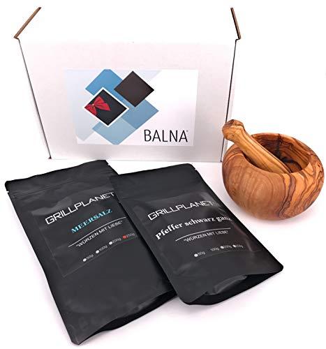 Balna Salz Pfeffer Geschenk zum Einzug Set mit Mörser und Stößel aus Olivenholz, Einzugsgeschenk Umzugsgeschenk Geschenkbox Männer Weihnachten Geschenkset Geburtstag