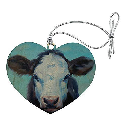 GRAPHICS & MORE Brown and White Cow Painting Heart Love Wood Christmas Tree Holiday Ornament
