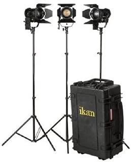 Ikan Helia (3x) 40W Bi-Color LED Fresnel Light Kit, 2700-5600K, 4 inch Fresnel, Barn Doors, Stands and Case Included (HF40-KIT) - Black