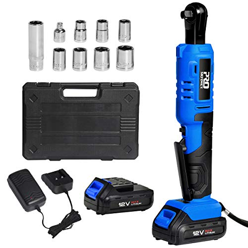 3/8' Cordless Ratchet Wrench, PROSTORMER 12V Power Electric Ratchet Kit with 4 Sockets, 2000mAh Lithium-Ion Battery, 1 Hour Fast Charger