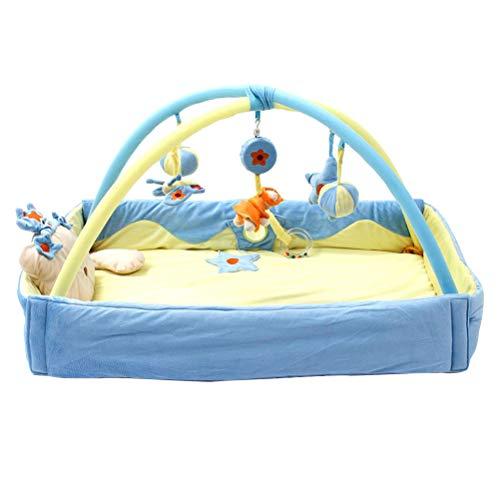 Toyvian Baby Play Mat Frame engatinhando cobertor fitness jogo bebê tapete protetor moldura azul