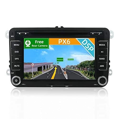 YUNTX [PX6+DSP] Android 10 Autoradio Passt für VW Passat/Golf/Skoda/Seat - [4G+64G] - KOSTENLOSE Rückenkamera - GPS 2 Din - Unterstützt DVD/DAB+ / Lenkradsteuerung/WiFi/Bluetooth 5.0/Carplay/USB