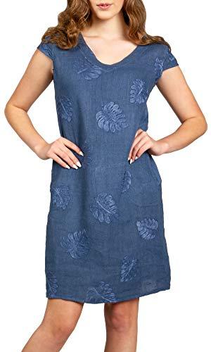 Caspar SKL030 knielanges Damen Sommer Leinenkleid mit Palmblatt Stickmuster, Größe:L - DE40 UK12 IT44 ES42 US10, Farbe:Jeans blau
