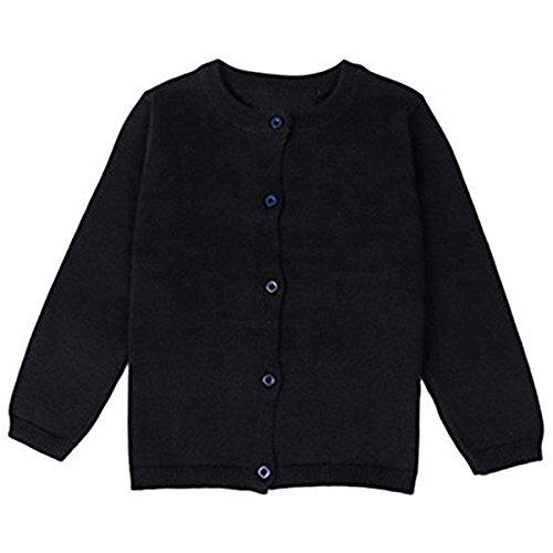 FAIRYRAIN FAIRYRAIN Baby Mädchen Kinder Einfarbig Basic Strickjacke Strickpullover Jacket Langarm Cardigan Pullover 6-7 Jahre Schwarz