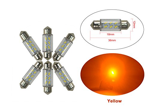 NJYTouch 6 X 36mm 6SMD 3014 211 Jaune Festoon Dôme Carte Intérieur Ampoules LED