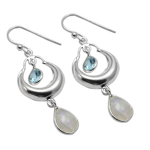 Silver Palace Pendientes de Plata esterlina Hechos a Mano y Naturales de Piedra Lunar arcoíris y topacio Azul para Mujeres y niñas