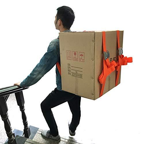 ENJOHOS Cinghie mobili di sollevamento e trasporto 200 kg per 1 carrello Kit di imbracature per spalla per il trasporto di mobili/oggetti pesanti/Cinghie di sollevamento per pianoforte 2, arancione
