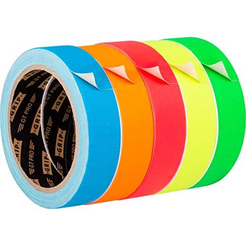 GRIP Eventbasics GT PRO Neon Tape 5er Set, Gewebeband 25 mm x 10 m, Hula Hoop Tape neongrün, neonpink, neonblau, neonorange, neongelb