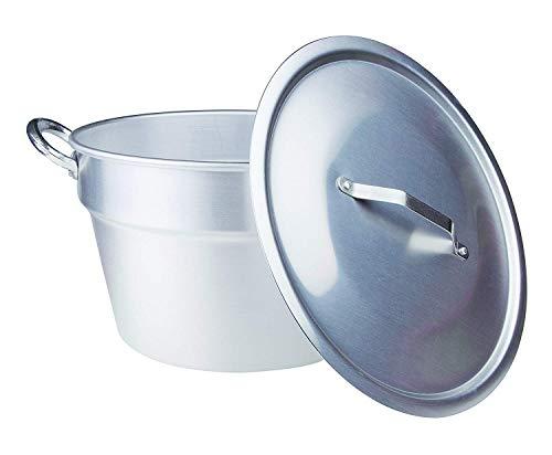 Pentole Agnelli, FAMA85C46, Pentola Pomodoro in Alluminio con 2 Maniglie + Coperchio Pesante, Tipo Sud (Caldaia), Diametro 46 cm, 56 Litri, Argento