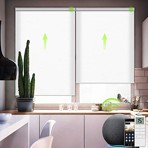 Yoolax Motorized Roller Shades Cordless Half-Shading Free-Stop Roller Blinds Rechargeable Window Blinds Work with Alexa Customized Size (Jacquard White)