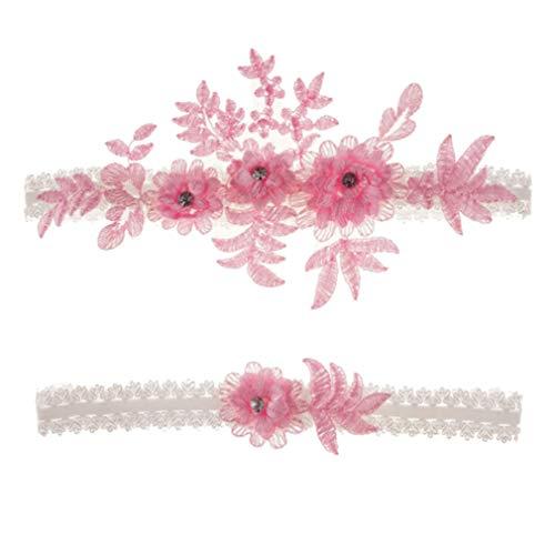 unknow Huaicheng - Alianza para la pierna de boda con flores de cristal, anillo de compromiso, fiesta de muslo, color rosa
