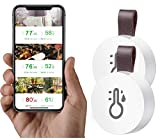 Ezanmull Wireless Thermometer Hygrometer Indoor Outdoor, Mini Bluetooth Humidity and Temperature Sensor with Data Export for iOS Android, for House, Wine Cigar, Living Room, Baby Room (2 Pack)