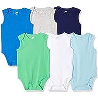 6-Pack Amazon Essentials Baby Boys' Sleeveless Bodysuits