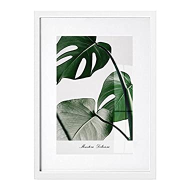 RAY&CHOW 11x14 White Picture Frame - Solid Wood - Glass window - With Picture Mat For 8x10 Photo - Frame Width 2cm
