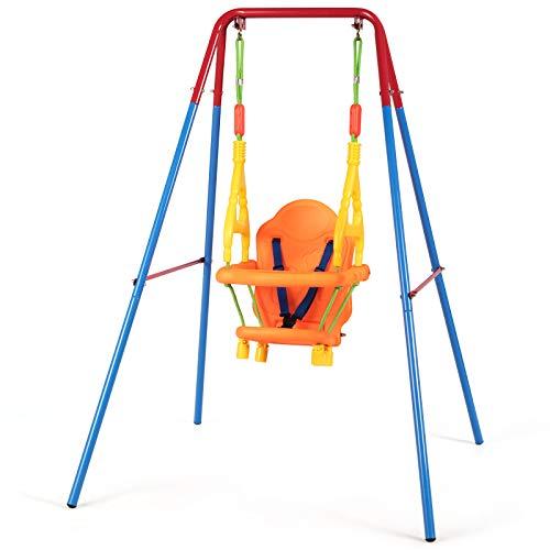 Goplus Altalena per Bambini 1-3 Anni, Altalena con Supporto da Giardino, Sedile con Cintura di...