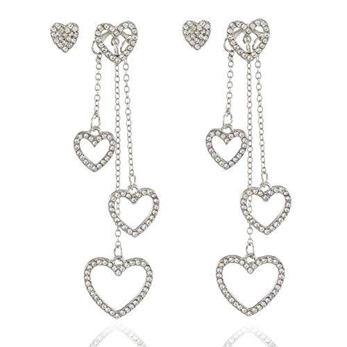 NFRADFM Pendientes Mujer Pendientes en Forma de corazón Cristal Pendientes Largos con borlas Joyas Mejor joyería para Fiestas Regalo