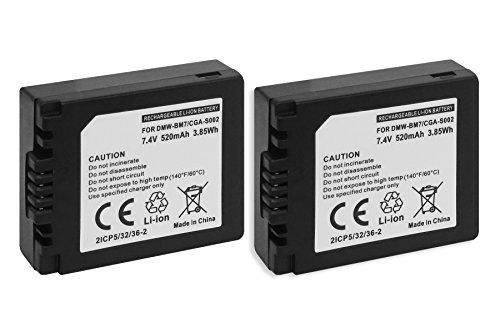 2X Batterie CGA-S002, DMW-BM7 pour Panasonic Lumix DMC-FZ1, FZ2, FZ3, FZ4, FZ5, FZ10, FZ15, FZ20