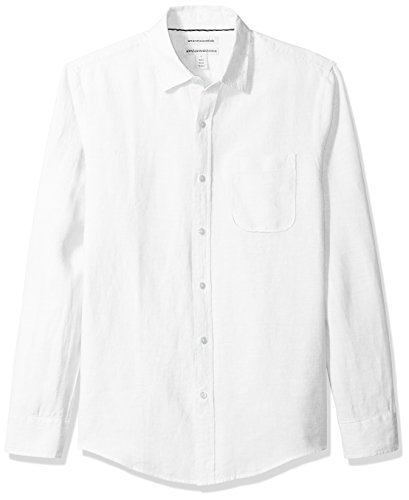 Amazon Essentials Men's Slim-Fit Long-Sleeve Linen Shirt, White, Large