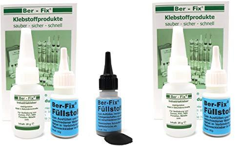 Ber-Fix® Juego de 2 adhesivos profesionales de reparación + granulado negro + puntas – plástico, ABS, PVC. PLA soldadura de 2 x 20 g de pegamento industrial y 2 x 30 g granulado blanco.