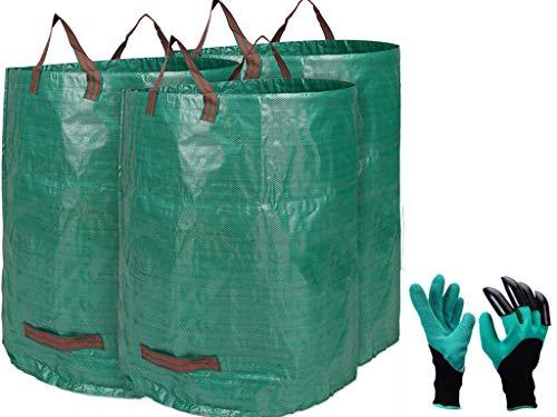 3X 272L Sacchi da Giardinaggio Professional - Sacchi per rifiuti da Giardino - Polipropilene (PP) - Robusto, Antistrappo, Idrorepellente Riutilizzabile Borsa da Giardino