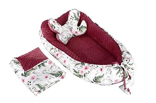 3 in 1 Babynest Babynestchen Kuschelnest Nest 2-seitig Minky/Baumwolle Kokon + Babydecke Bettdecke + Kopfkissen Schmetterlingskissen Komplett Set (Garden retro rosa)