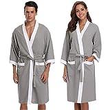 Vlazom Peignoir Femme Coton Gaufré Léger Robe de Chambre Unisexe Spa Sauna Peignoir de Bain Eponge