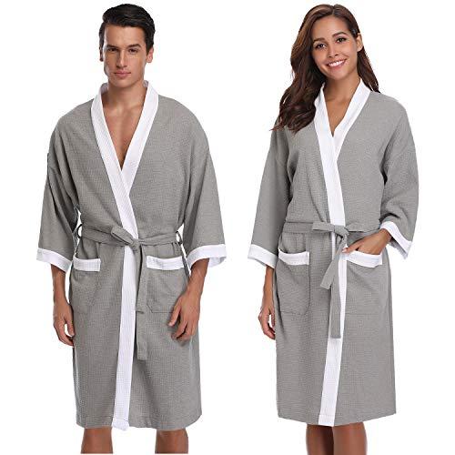 Vlazom Damen Bademantel Langarm Baumwolle Leicht Morgenmantel Waffel Sleepwear Mit V Kragen Kimono Saunamantel Robe(S,Hellgrau-Style B)