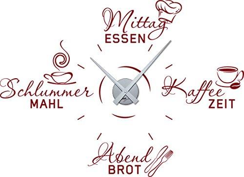 GRAZDesign Küchentattoo mit Uhrwerk Kaffee Tasse Mütze Besteck - Wandtattoo Uhr Mahlzeiten des Tages Küchenuhr / 79x57cm / 800611_SI_030