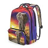 QMIN Mochila con diseño de elefante africano y atardecer desmontable para la escuela, viajes, universidad, mochila con cierre y correa para niños, niñas, mujeres y hombres