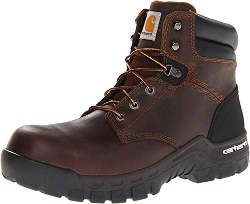"Carhartt Men's Rugged Flex 6"" Comp Toe Construction Shoe, Brown Oil Tanned Leather, 12"