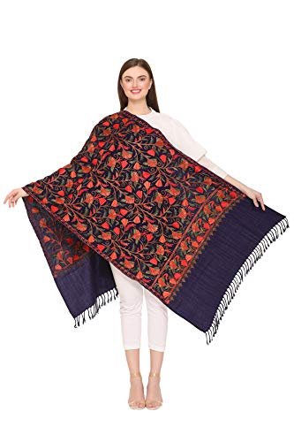 Kashmir Women Stole Scarf Wrap Shawl with Indian Embroidery Flower - 6319 (Blue)