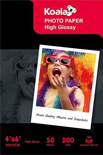 KOALA Papel fotográfico de Brillante, 10x15 cm, 50 hojas, 200 g/m², para impresora de inyección de tinta Canon HP Epson