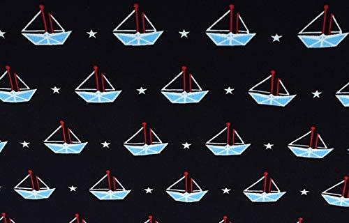 Qualitativ hochwertiger Jersey Stoff, Maritime kleine Boote auf Marine als Meterware zum Nähen von Kinder und Baby Kleidung, 50 cm