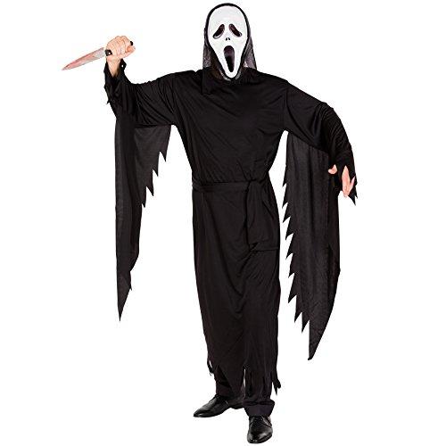 TecTake dressforfun Disfraz de la película Scream para Hombre | Máscara de Miedo | Vestimenta Larga | Disfraz de Cuerpo Completo (M | no. 300111)