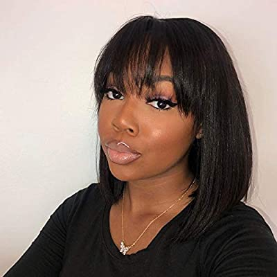 BLY Human Hair Wigs with Bangs 12 Inch Short Straight Bob Non Lace Front Wigs 130% Density Glueless Machine Made Wigs Natural Looking Black Color