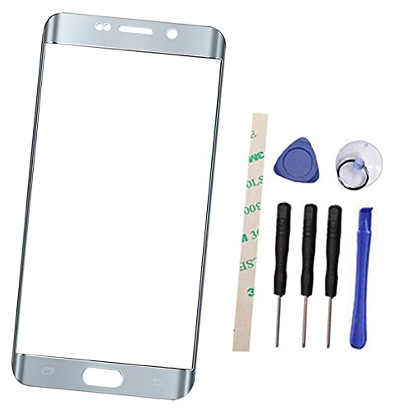 Outer Screen Front Glass Lens Replacement For Galaxy S6 EDGE PLUS SM-G9280 G9287 G928V G928P G928R4 G928F G928G G928T G928A G928I (Not LCD and Not digitizer) with Adhesive Preinstalled (silver)