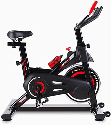 Bicicleta Estática, Bicicleta de Ejercicio en Casa, Ajustable de Altura para Cinco Niveles, con Indicador LCD de Datos, Soporte de 150kg, con Sillín, Color Negro y Rojo